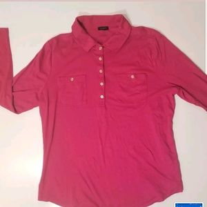 Talbots xl supima cotton hot pink blouse